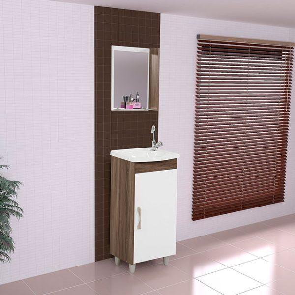 Combo de mueble de baño color blanco/ castaño con lavamanos y espejos incluidos.
