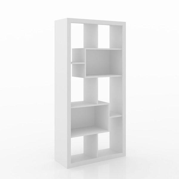 La estantería Londres cuenta con ocho entrepaños, se ajusta a la necesidad permitiendo su uso en diagonal o vertical