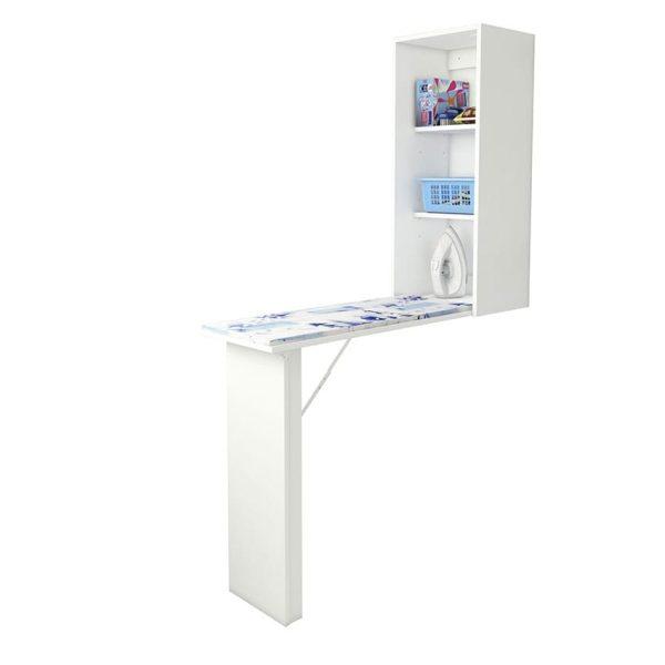 La mesa de planchar retráctil Sevilla cuenta con dos repisas dentro del amplio cajón y la mesa cuenta con gran soporte al desprenderla de la pared