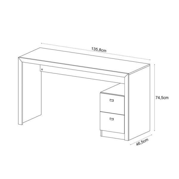 El escritorio Santorini disponible en blanco, nogal, rústico y roble humo. Cuenta con dos cajones amplios