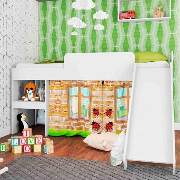 Cama infantil Playground blanco con rodadero y estantes para juguetes