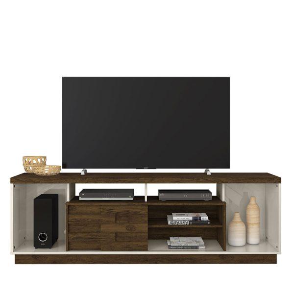 """La mesa de tv 65"""" Adria se ajusta a todo tipo de espacios, ofreciendo amplios compartimientos para su uso y decoración"""