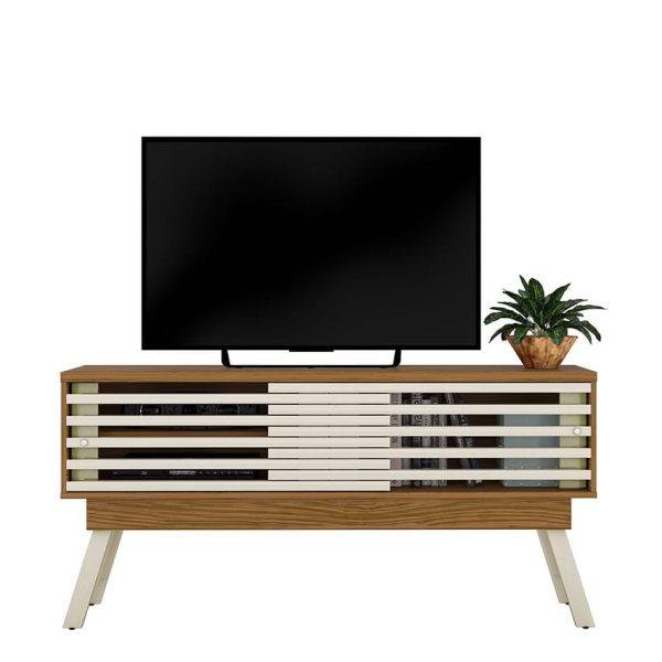 """La mesa de tv 65"""" Frizz 1.5 cuenta con dos amplios estantes con puerta corrediza. Disponible en tres colores diferentes"""