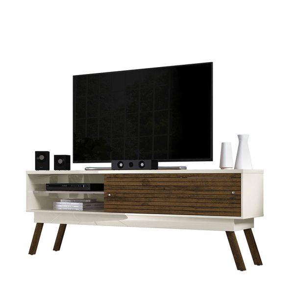 """La mesa de tv 75"""" Frizz 1.8 ofrece amplios módulos de almacenamiento con puerta corrediza. Disponible en tres tonos diferentes"""