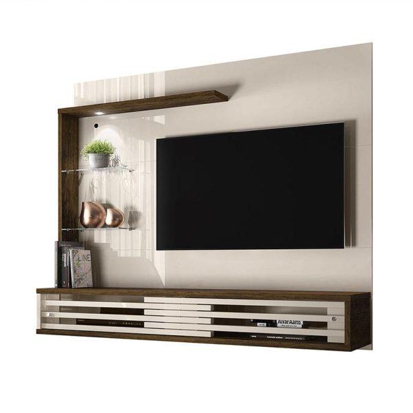 """El panel TV 50"""" Suspensa Frizz cuenta con estantes de vidrio, luces LED y un diseño moderno y sofisticado"""