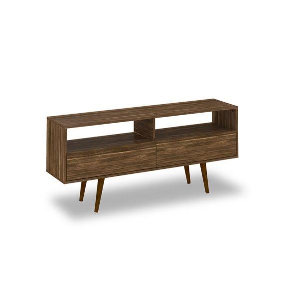 """La mesa de tv 55"""" Perú cuenta con dos compartimientos y dos cajones con puerta que permiten almacenar diferentes elementos"""