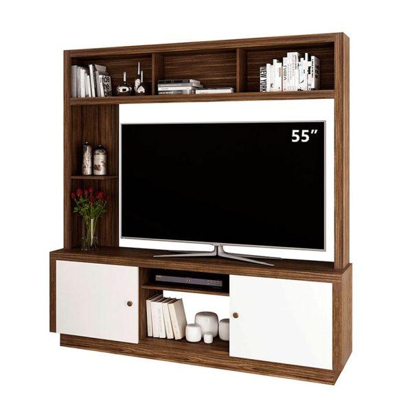"""Centro de entretenimiento tv 55"""" con compartimientos y entrepaños amplios de fácil armado"""