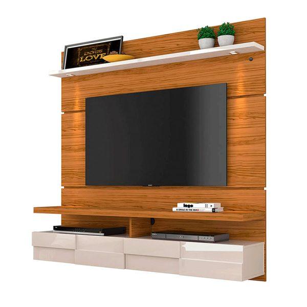 """El panel TV 60"""" Lana 1.6 cuenta con dos luces LED que favorecen la iluminación y compartimientos con puerta abatible"""