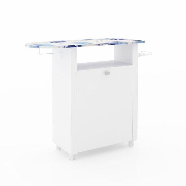 La mesa de planchar Maria cuenta con soporte para plancha, repisa, perchero y gaveta ideal para ubicar en la cocina o zona de planchado