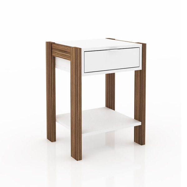 La mesa de noche Juana nogal/ Blanco cuenta con un diseño moderno que en la parte superior ofrece un cajón y abajo un compartimiento amplio