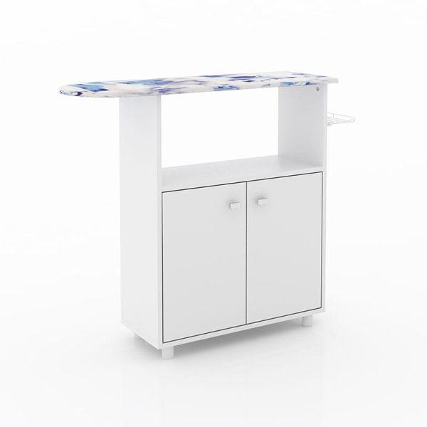 La mesa de planchar Rosa se adecúa al espacio maximizando el espacio ofreciendo amplios compartimientos para almacenar elementos de uso