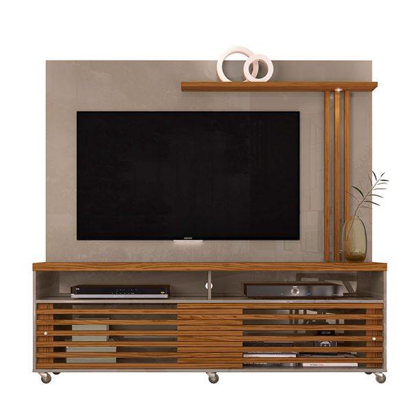 "Centro de entretenimiento de tv 65"" moderno con luces LED de fácil desplazamiento"