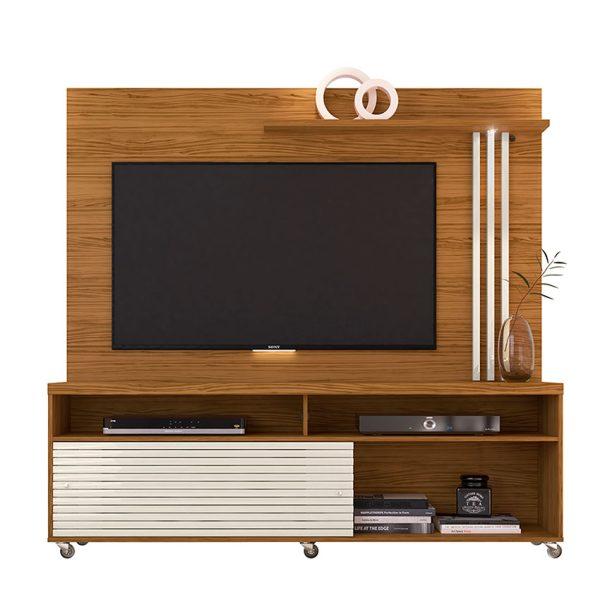 """Centro de entretenimiento de tv 65"""" con luces LED, puertas corredizas y diseño moderno"""