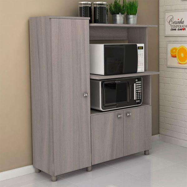 El mueble de cocina Segovia ofrece amplios estantes de almacenamiento, disponible en tres colores distintos