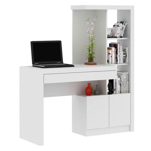Escritorio biblioteca diseñado para todo tipo de espacios color blanco