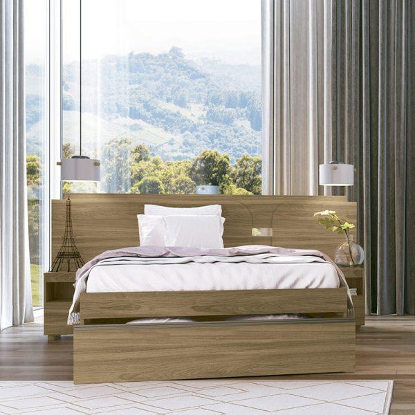 Cabecera doble con mesas de noche Charme ajustable color natural