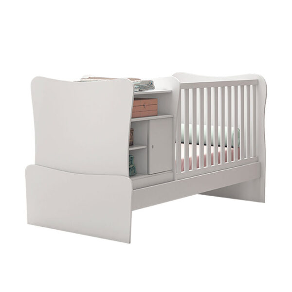 Cuna/cama con mesitas de noche adaptable color blanco