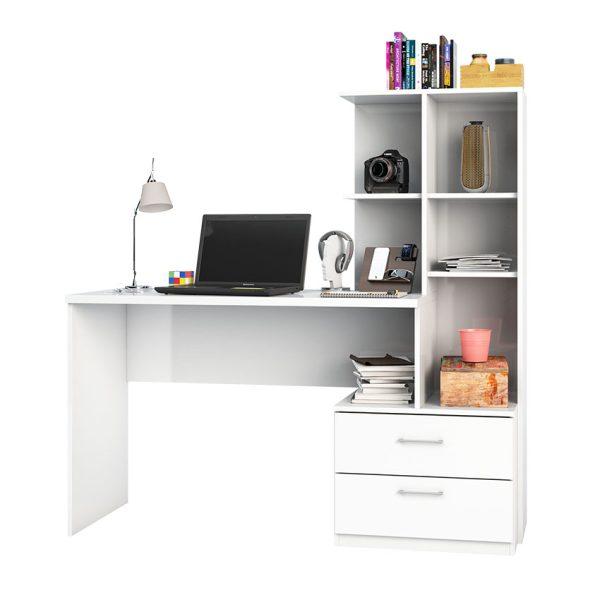 El escritorio biblioteca Poli es ideal para la organización, cuenta con cinco estantes que facilitan el orden