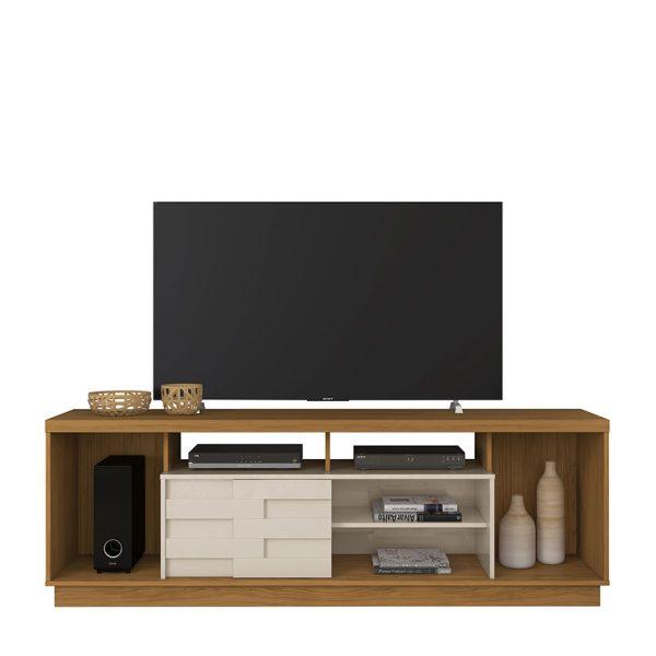 """La mesa de tv 65"""" Adria cuenta con amplios espacios para ordenar y decorar, disponible en cuatro colores diferentes"""