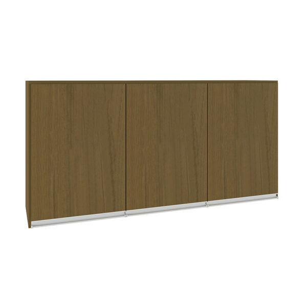 El mueble aéreo Bahía Roble cuenta con cuatro repisas con tres puertas, disponible en dos colores diferentes