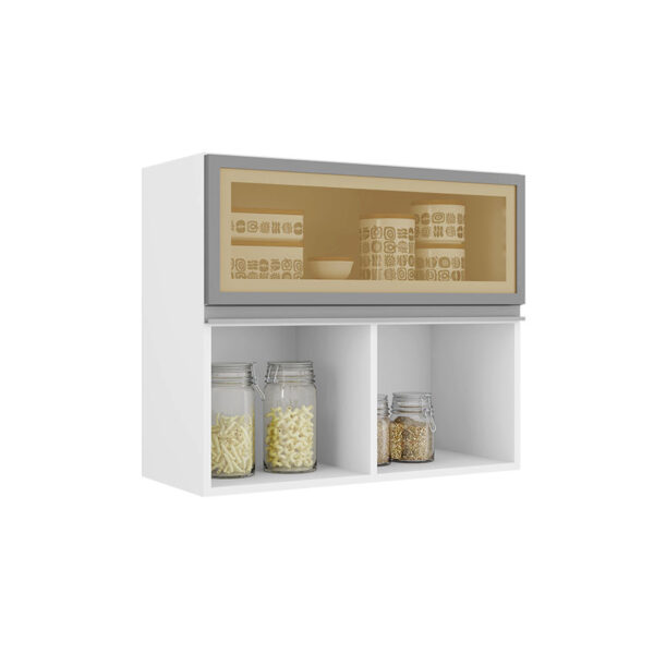 Mueble aéreo con tres compartimientos, dos con puertas. Disponible en dos colores distintos