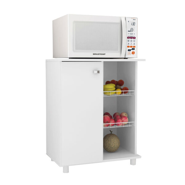 El mueble de cocina Praga cuenta con tres estantes de almacenamiento con puertas frontales color blanco