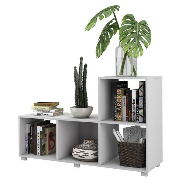 La estantería Toulouse color blanco cuenta con cuatro compartimientos funcionando como estante, biblioteca u organizador