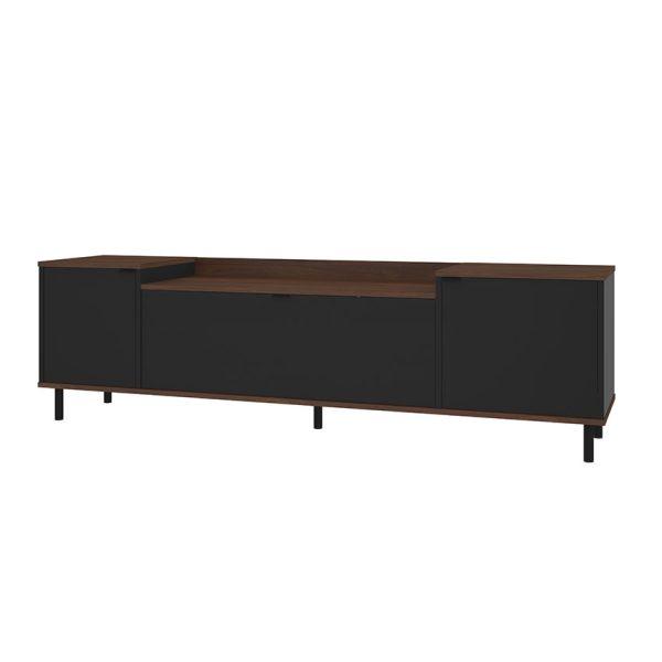 """La mesa de tv 40"""" Copacabana color castaño cuenta con tres compartimientos con puerta"""