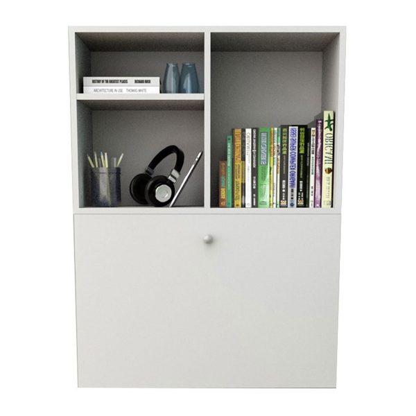 El escritorio flotante Malta en color blanco cuenta con una puerta abatible y dos separaciones para mejorar la organización del escritorio