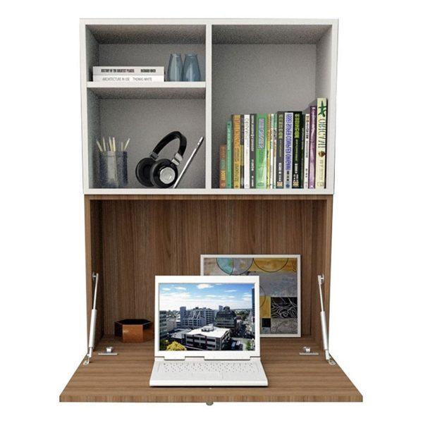 Con el escritorio flotante Malta color blanco/marrón aprovecha el espacio con la puerta abatible