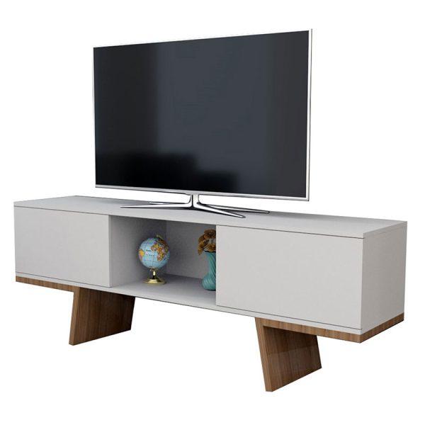 """La mesa de tv 65"""" Estambul ofrece amplios compartimientos ideales para elementos electrónicos que complementan el televisor"""