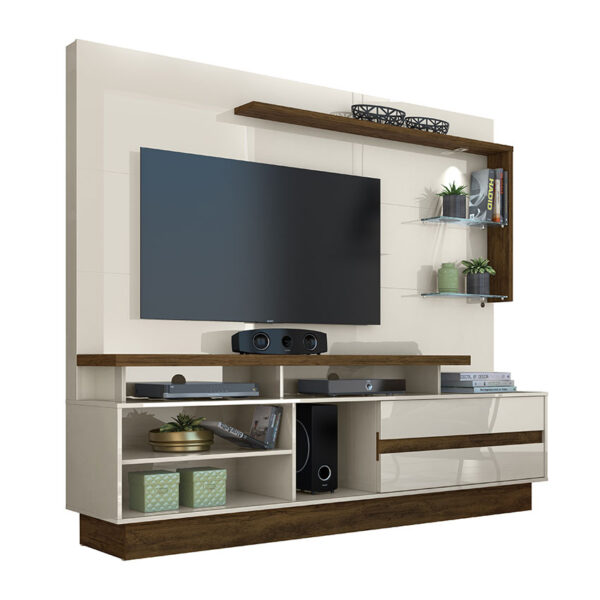 """Centro de entretenimiento tv 60"""" con repisas y compartimientos amplios con diseño elegante"""