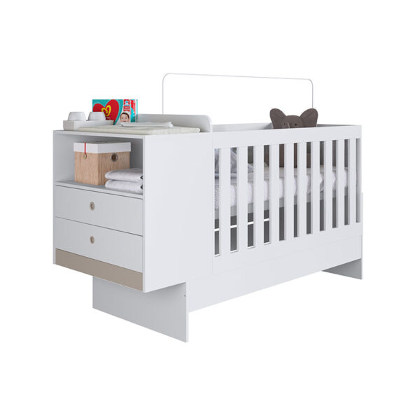 Cuna/ cama multifuncional adaptable a cama y escritorio, con cajonera ajustada a cómoda