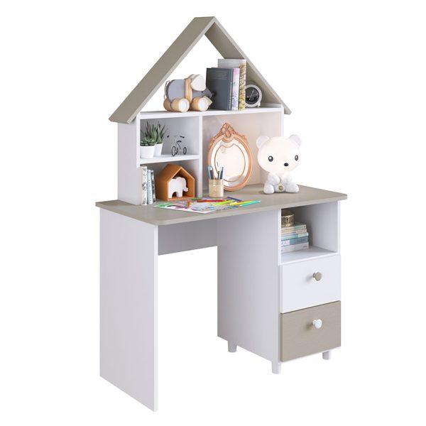 El escritorio Ternura Blanco diseñado en forma de casa, decora y facilita la organización de la habitación luciendo agradable y divertida