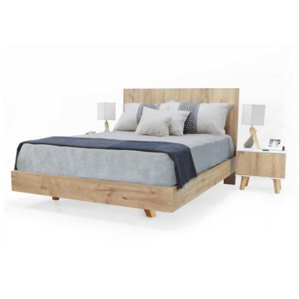Cama con mesa de noche en madecor color duna