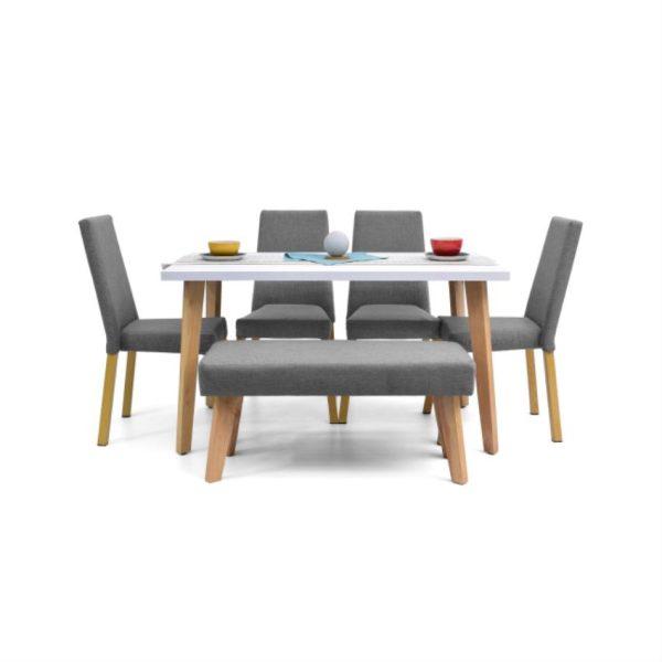 Comedor en madera color gris cuatro puestos