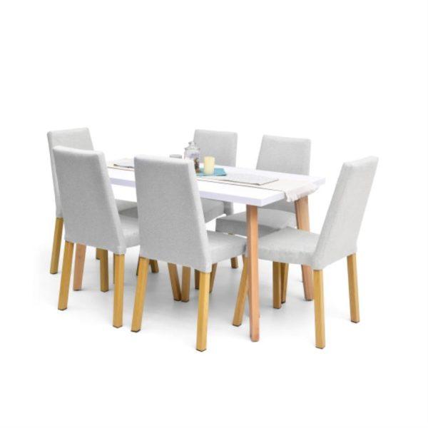 Comedor en madera seis puestos color plata