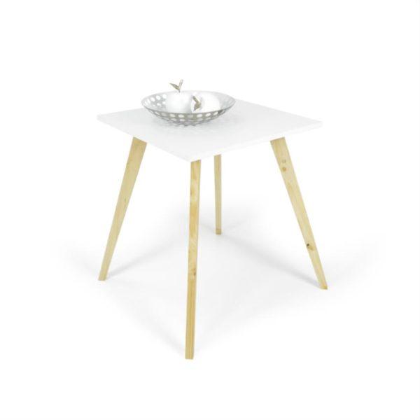 Mesa auxiliar en madera color blanco