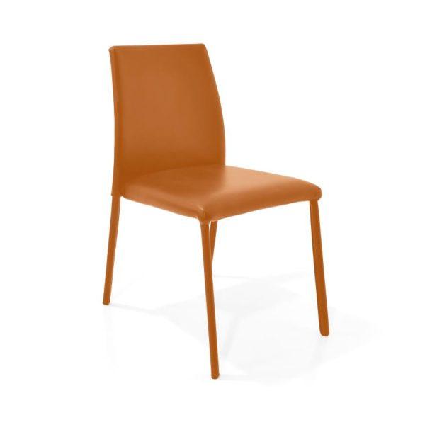 Silla comedor en cuero color naranja
