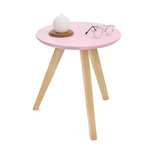 Mesa auxiliar en madera color rosa