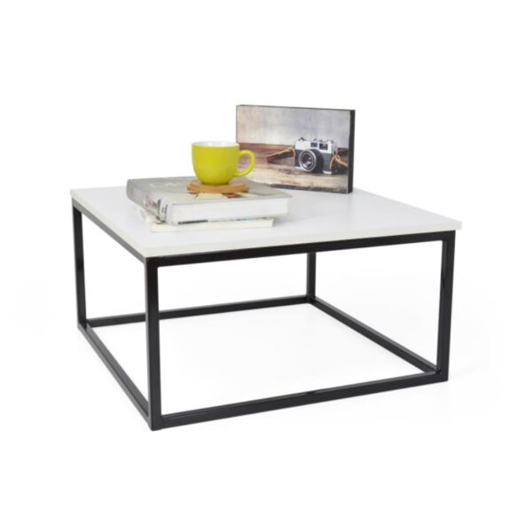 Mesa de centro en madera blanco y negro