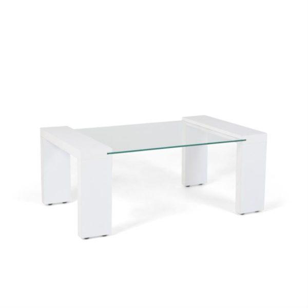 Mesa de centro en vidrio color blanco