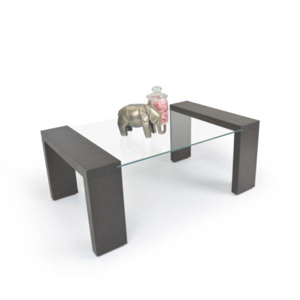 Mesa de centro en vidrio color wengue