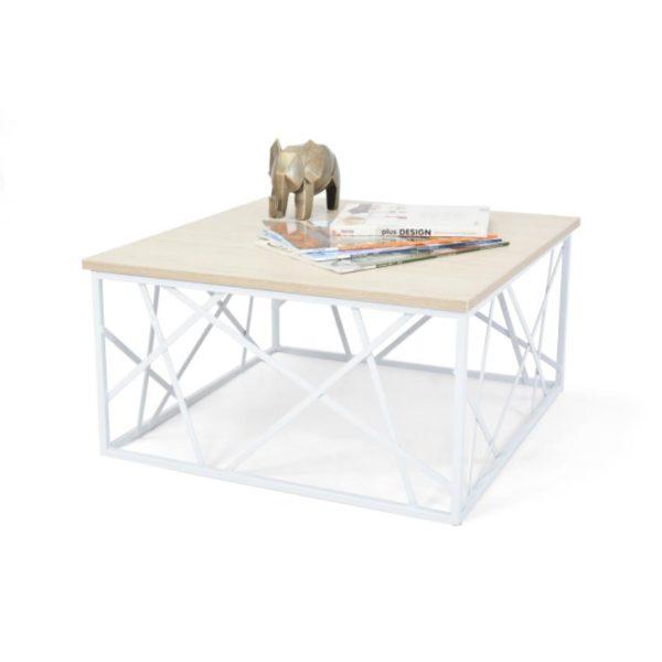 Mesa de centro en madera color blanco