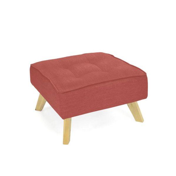Puff en madera color rojo