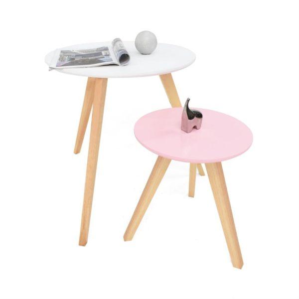 Mesas auxiliares en madera color blanco/rosado