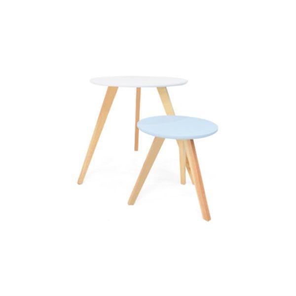Mesas auxiliares en madera color blanco/aqua