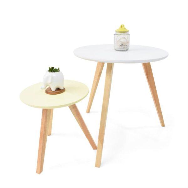 Mesas auxiliares en madera color blanco y amarillo