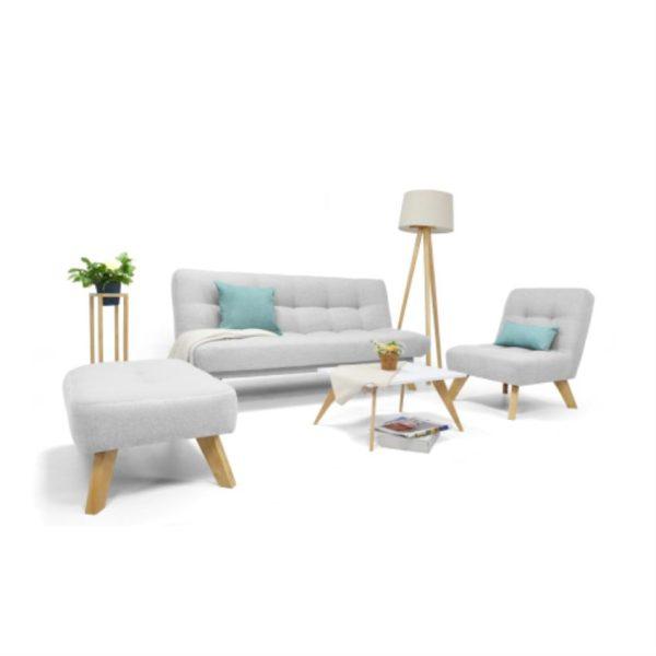 Sala y mesa de centro en madera color plataSala y mesa de centro en madera color plata