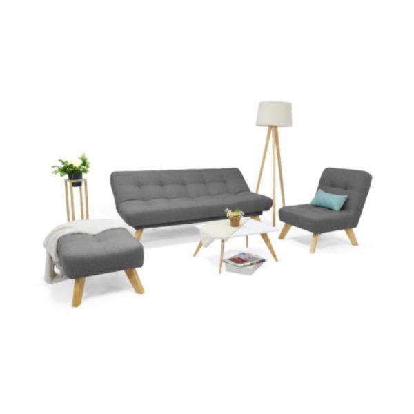 Sala y mesa de comedor en madera color gris